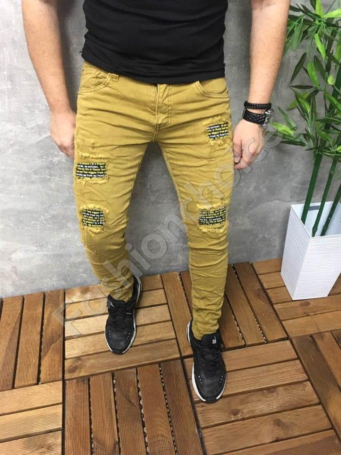 Мъжки дънки с цветни кръпки- горчица Код 777-2