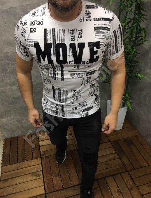 Мъжка тениска в черно-бял десен с надпис MOVE