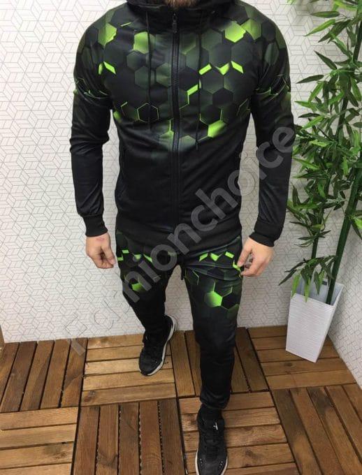 Мъжки комплект с интересен преливащ десен-черно/ зелено Код 337-201