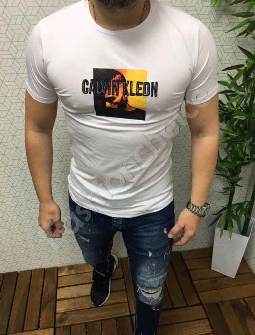 Мъжка тениска в бяло CALVIN KLEON