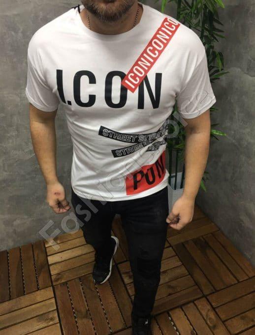 Мъжка тениска ICON в бяло