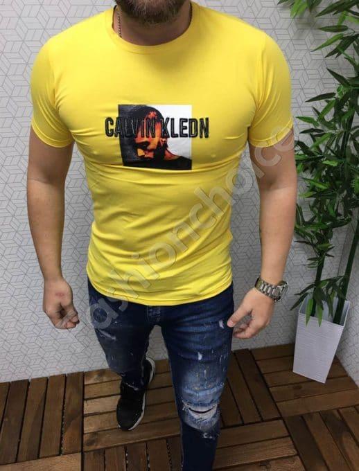 Мъжка тениска в жълто CALVIN KLEON