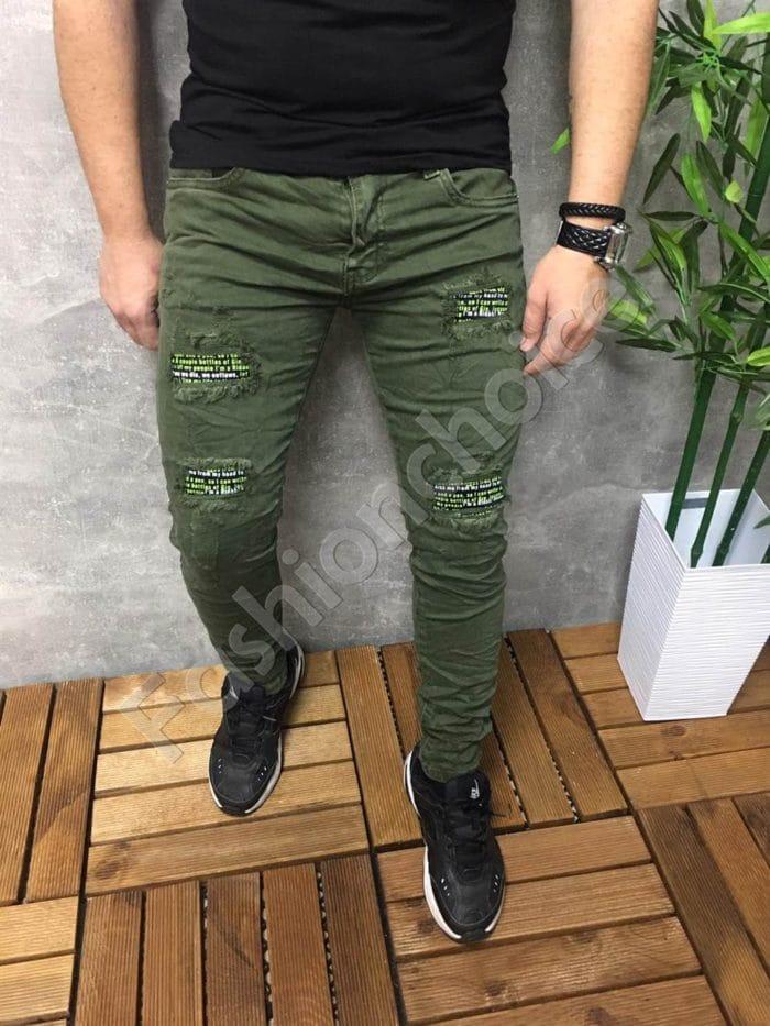 Мъжки дънки с цветни кръпки- каки Код 777-1