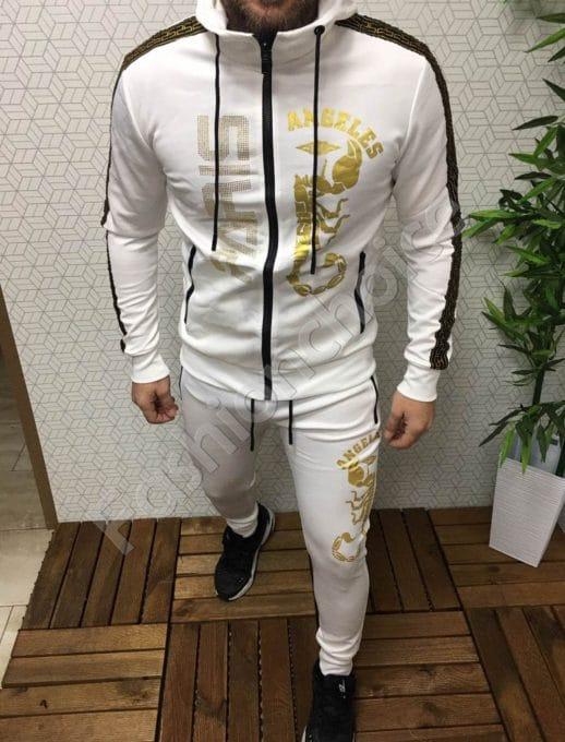 Мъжки комплект в бяло със златиста щампа-Код 337-212-1