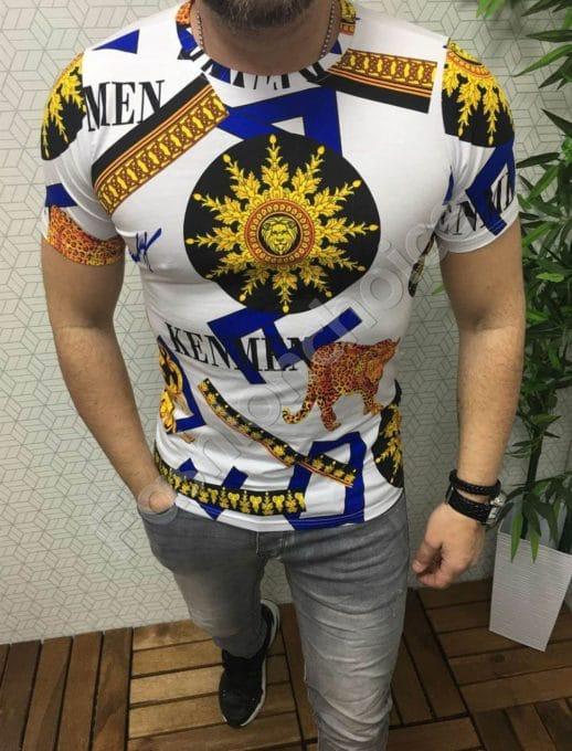 Мъжка тениска в бяло с цветна декорация