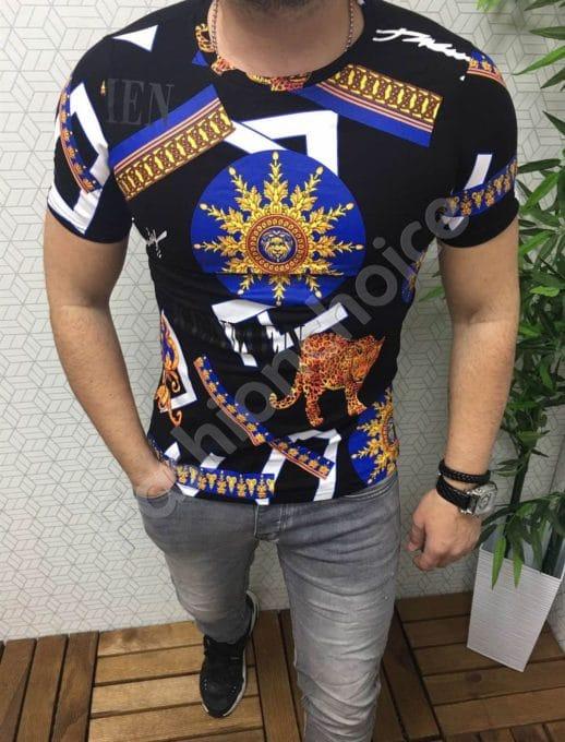 Мъжка тениска в черно с цветна декорация