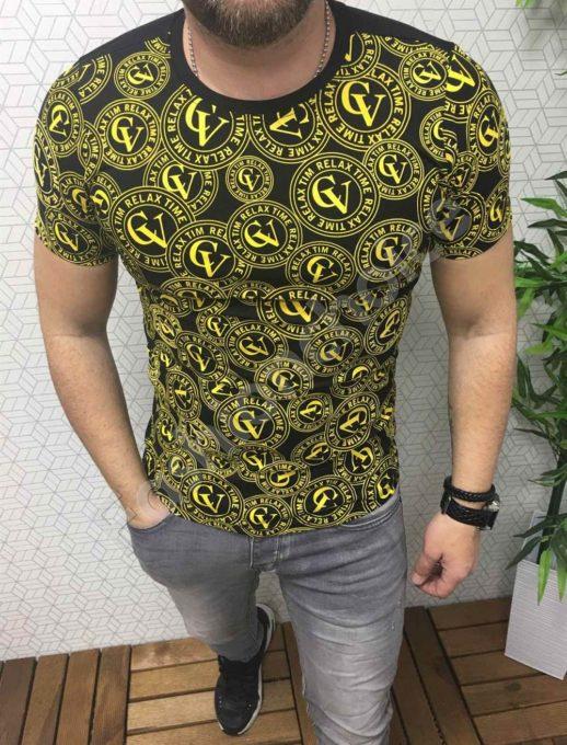 Мъжка тениска с модерен жълт принт GV