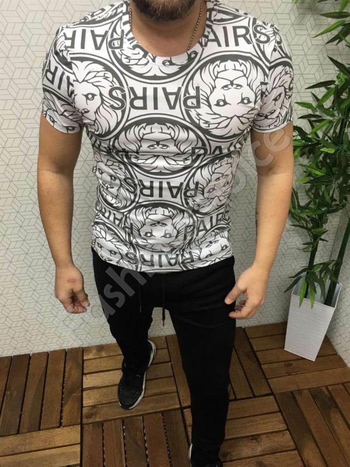 Мъжка тениска с актуална сребриста щампа