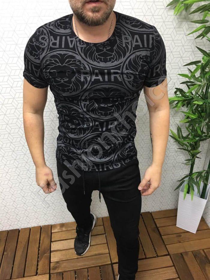 Мъжка черна тениска с актуална сребриста щампа