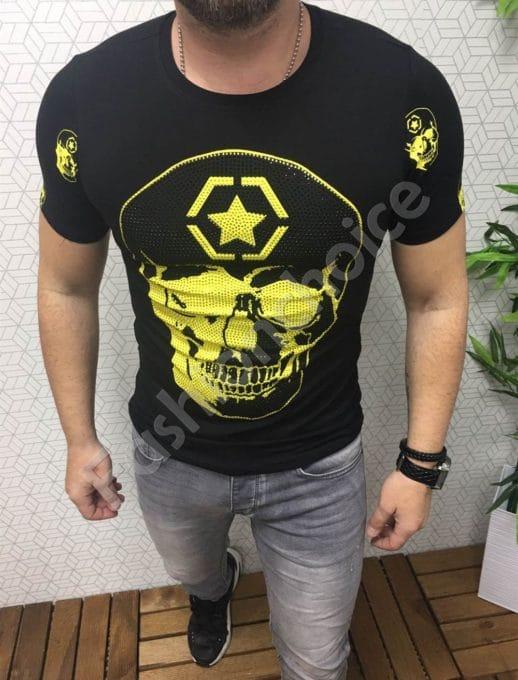 Мъжка блуза в черно с череп и цветни камъчета