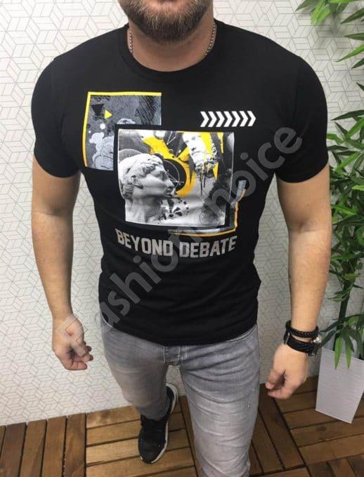 Мъжка тениска с цветна щампа и надписи