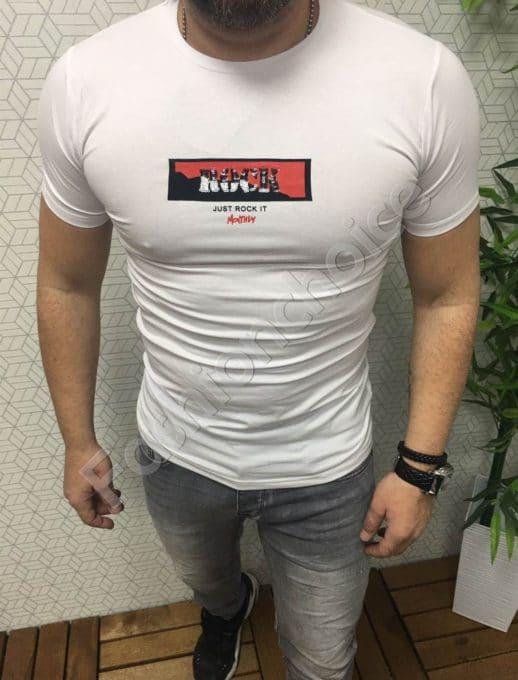 Мъжка тениска с надпис ROCK
