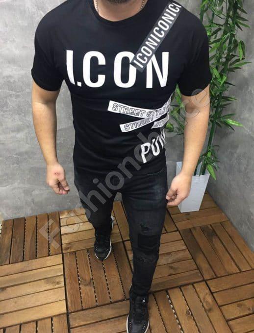 Мъжка тениска ICON в черно