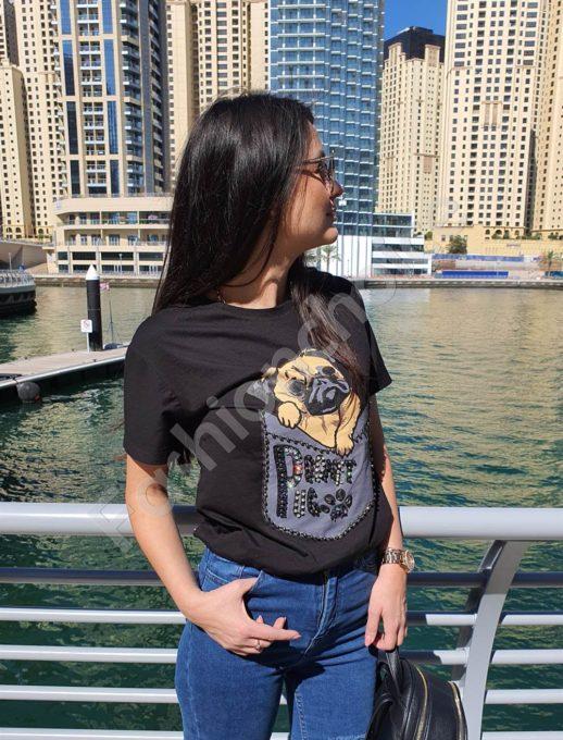 Модерна дамска тениска в черно-щампа куче Код 3097-1