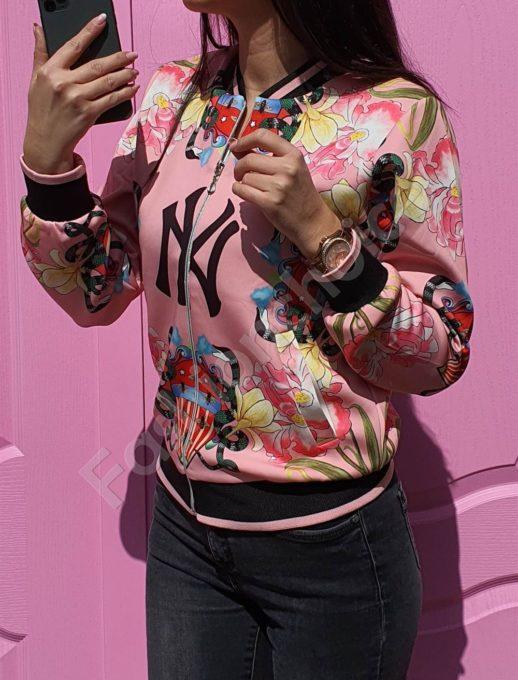 Пролетно цветно дамско якенце NY в розово-код 1243-1