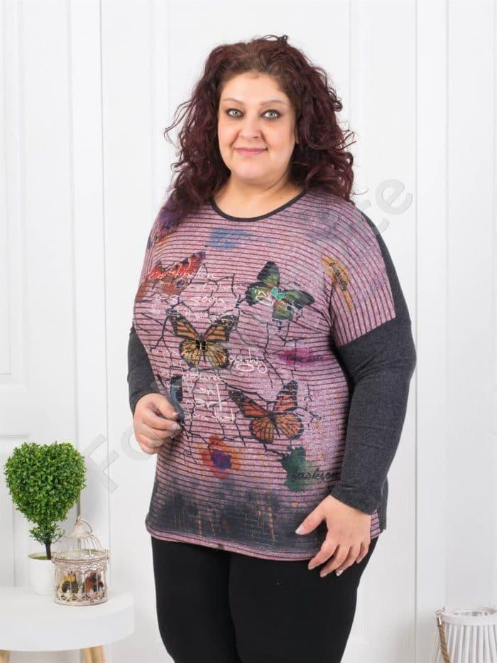 Кокетна макси блуза с цветни пеперуди Код 6720