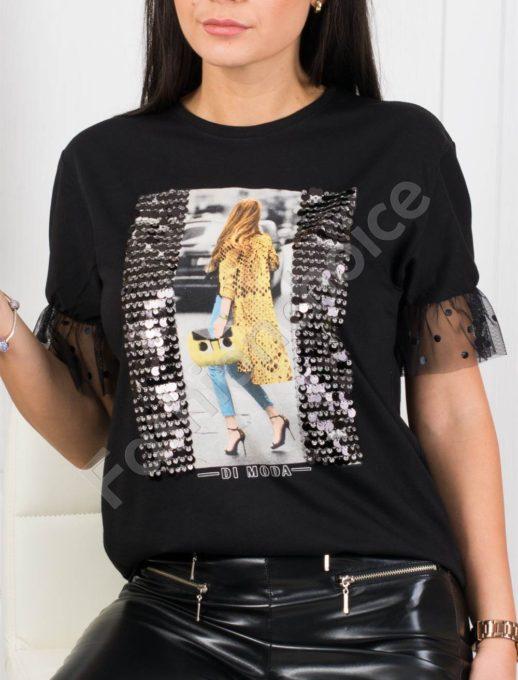 Модерна дамска блузка декорирана с пайети-черно