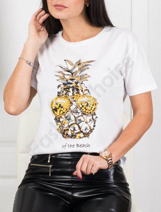 Ефектна дамска блузка с цветна декорация ананас-бяло-код 3051-1