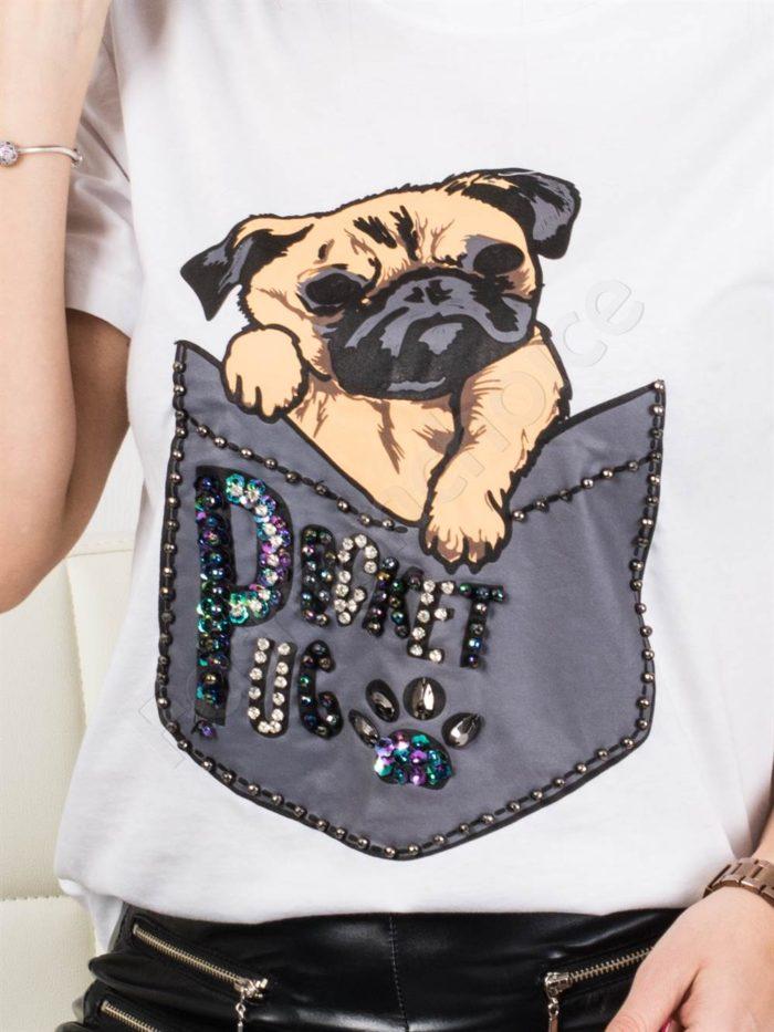 Модерна дамска блузка с весела щампа кученце- бяло Код 877-3