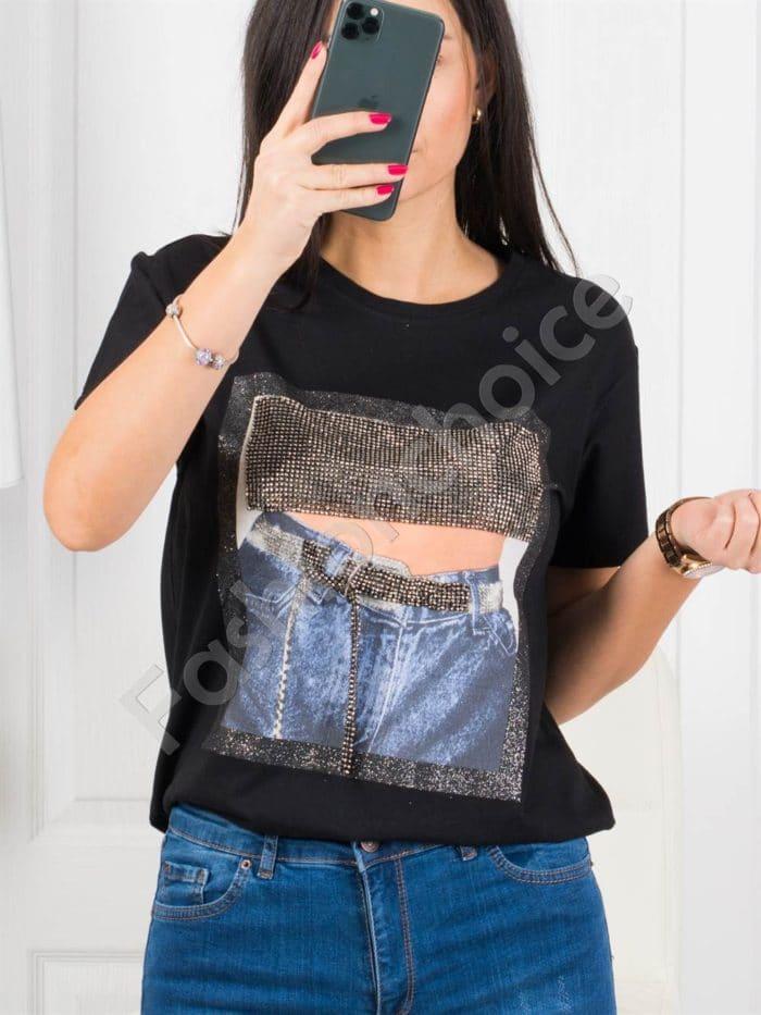 Дамска блузка с декорация дънки и камъчета-черно