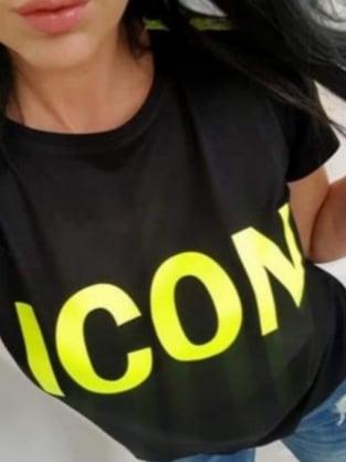 Дамска черна тениска с неоново жълт надпис