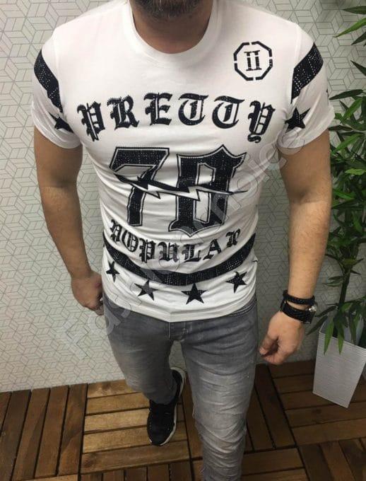 Мъжка тениска с декоративни камъчета
