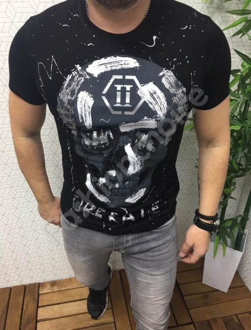 Мъжка тениска с щампа череп в черно/сиво