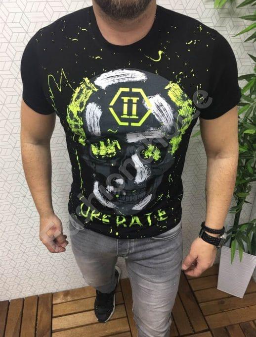 Мъжка тениска с щампа череп в черно/зелен неон