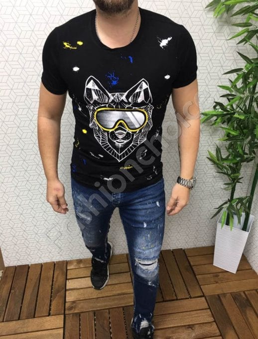 Мъжка черна тениска с декорация очила и камъчета