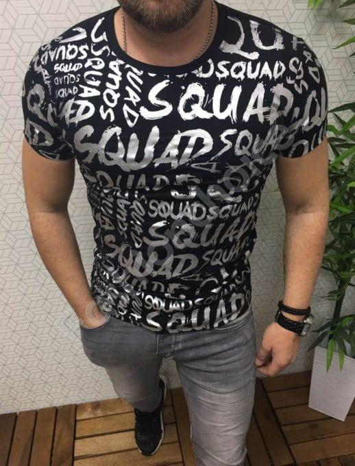 Мъжка тениска в черно със сребърен надпис
