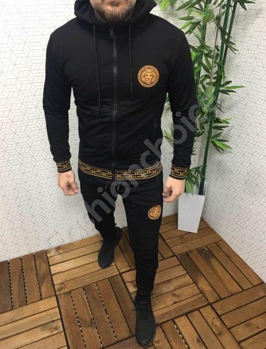 Мъжки спортен комплект в черно с красива щампа-Код 337-002