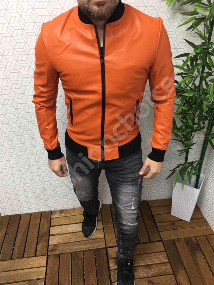 Мъжко пролетно кожено яке в свеж оранжев цвят