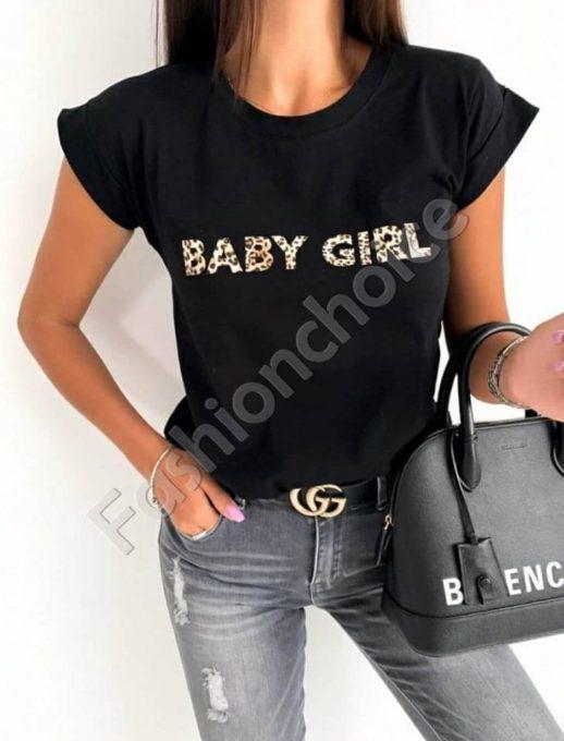Дамска тениска в черно с кокетен надпис -код 878-4