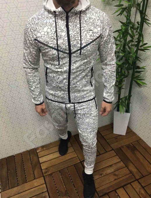 Мъжки спортен комплект в бяло/чер стилен десен-Код 337-004