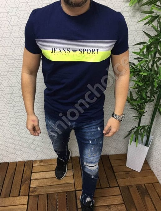 Мъжка тениска със свежа щампа в тъмносиньо/XL-5XL/