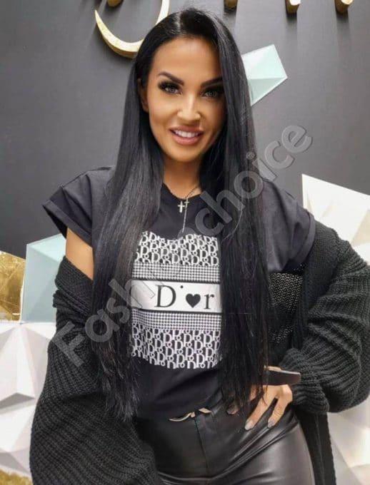 Дамска тениска с модна щампа