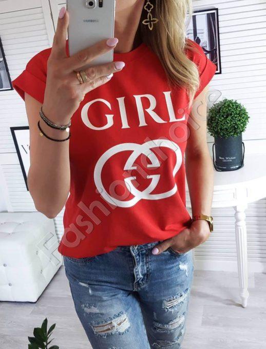 Дамска тениска с модна щампа и надпис GIRL