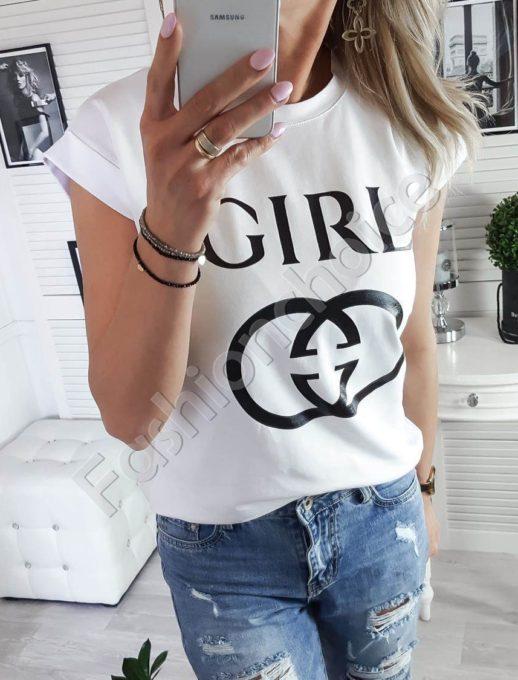Дамска тениска с модна щампа и надпис GIRL в бяло