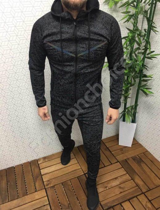 Мъжки спортен комплект в черно/сив стилен десен-Код 337-003