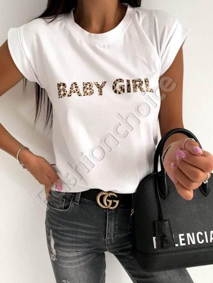 Дамска тениска в бяло с кокетен надпис-код 878-4-1