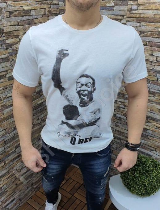 Бяла памучна тениска с щампа на Пеле-код 343-1