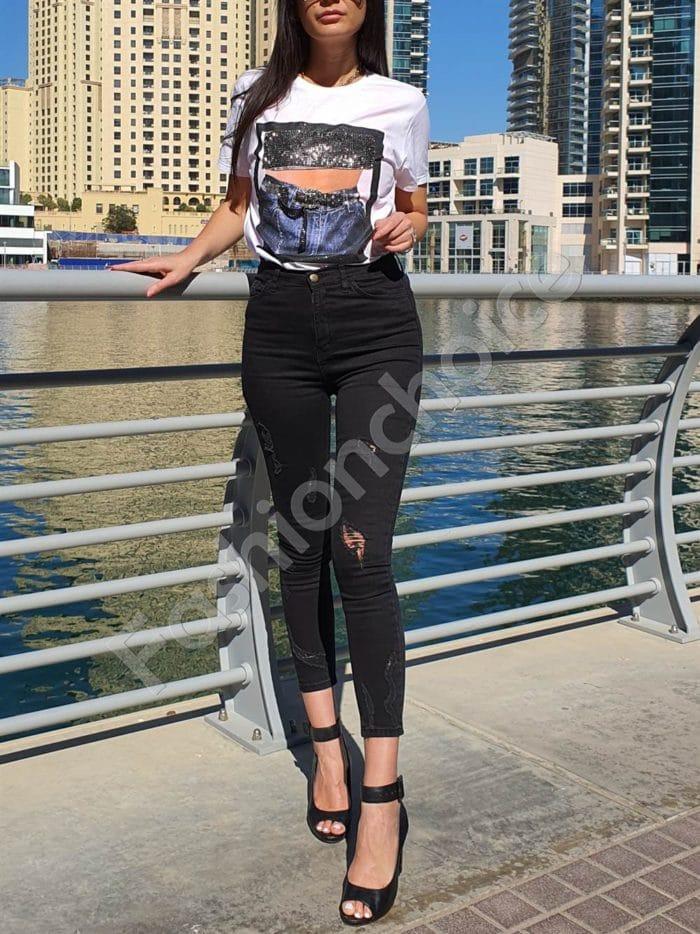 Slim fit дънки в черно с накъсан ефект-Код 3021-40
