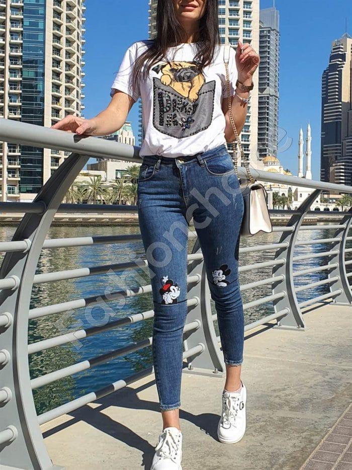 Дамси дънки в син деним със закачлива бродерия-Код 7431