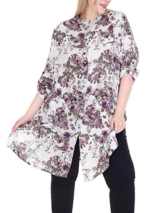 Дълга макси риза в красив десен на нежни лилави цветя-код 1413-7