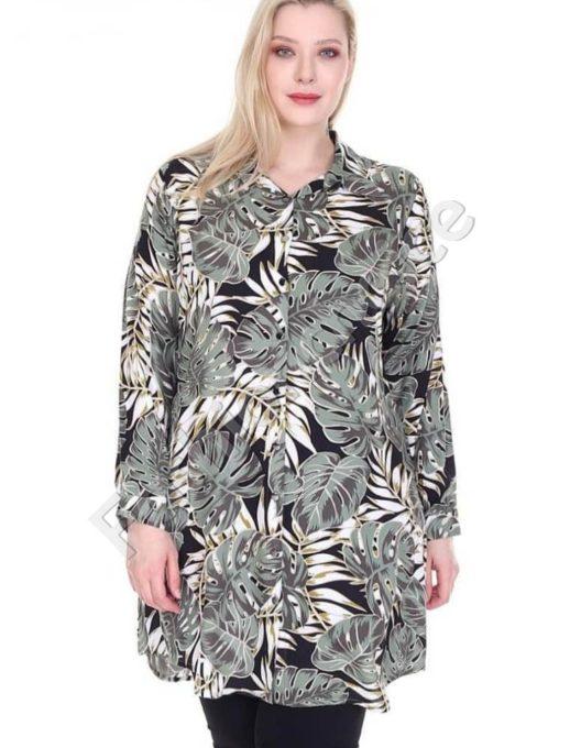 Дълга макси риза в красив десен на листа в цвят каки-код 1413-9