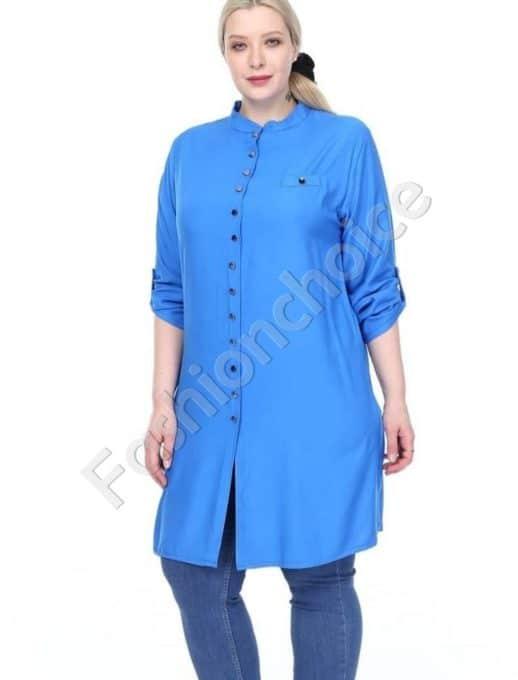 Дълга макси риза в нежен син цвят-код 1413-1