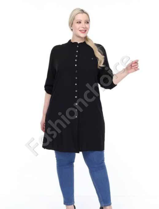 Дълга макси риза в класически черен цвят-код 1413-4