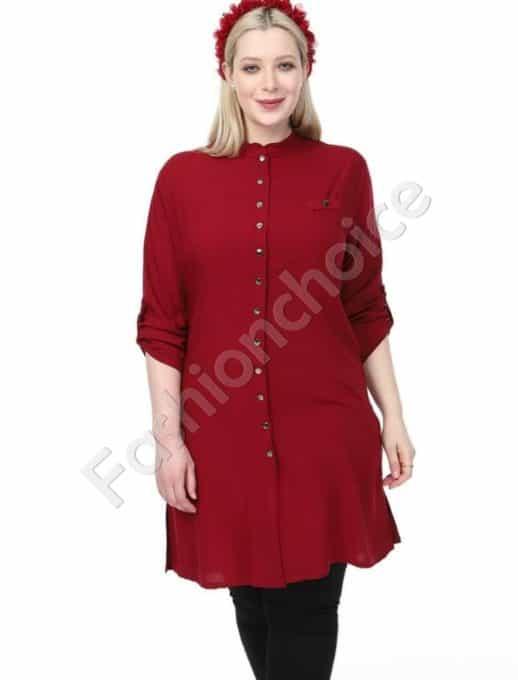 Дълга макси риза в стилен цвят бордо-код 1413-3