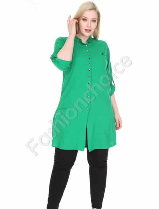 Дълга макси риза в свеж зелен цвят-код 1413-5