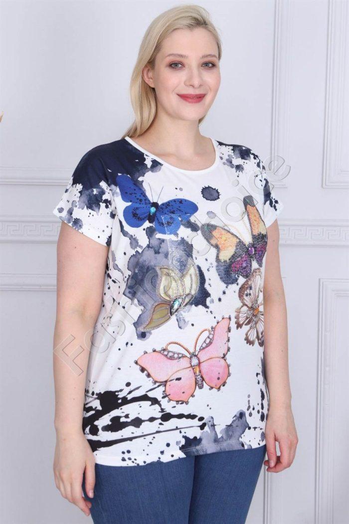 Свежа макси блузка с щампа пеперуди-код 880-2